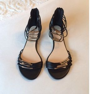 Bamboo Black Faux Leather Egyptian Style Sandals